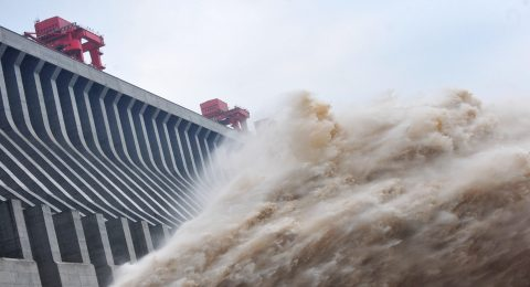 CMDKT2 The biggest flood peak in history get through Three Gorges Dam safely in Yichang, Hubei, China on Tuesday July 24, 2012.